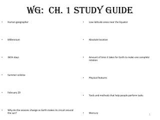 WG:  Ch. 1 Study Guide