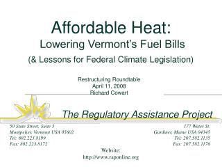 Affordable Heat:  Lowering Vermont's Fuel Bills (& Lessons for Federal Climate Legislation)