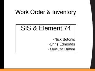 Work Order & Inventory