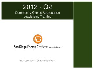 2012 - Q2 Community Choice Aggregation Leadership Training