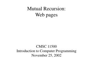 Mutual Recursion: Web pages