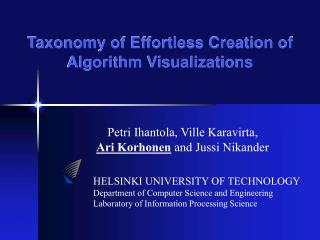 Taxonomy of Effortless Creation of Algorithm Visualizations