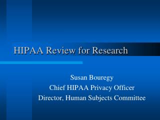 HIPAA Review for Research