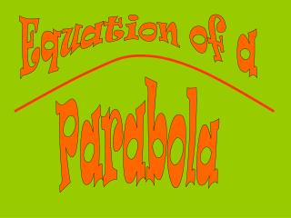 Equation of a Parabola