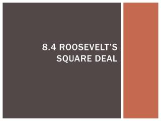 8.4 Roosevelt�s Square Deal