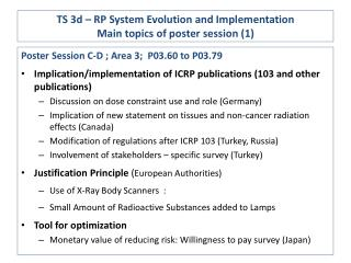 TS 3d – RP System Evolution and Implementation Main topics of poster session (1)