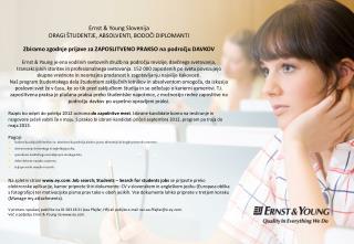 Ernst & Young Slovenija DRAGI ŠTUDENTJE, ABSOLVENTI, BODOČI DIPLOMANTI