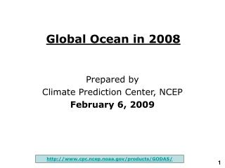 Global Ocean in 200 8