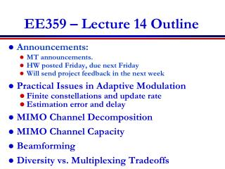 EE359 � Lecture 14 Outline