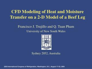 CFD Modeling of Heat and Moisture Transfer on a 2-D Model of a Beef Leg