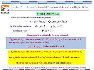 Chapter 2        Linear  Differential Equations of Second and Higher Order
