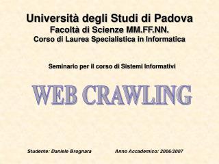 Seminario per il corso di Sistemi Informativi