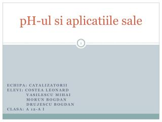 pH-ul si aplicatiile sale