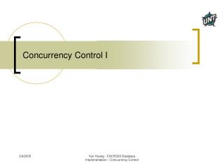 Concurrency Control I