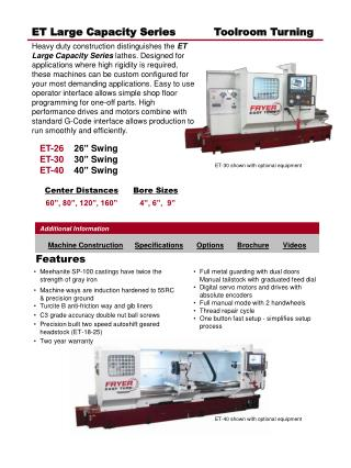 ET Large Capacity Series           Toolroom Turning