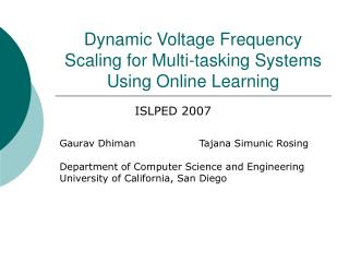 Dynamic Voltage Frequency Scaling for Multi-tasking Systems Using Online Learning