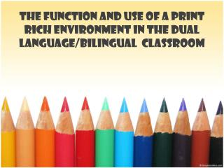 The  Function  and Use of a  Print Rich Environment  in the Dual  Language / Bilingual Classroom