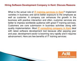 Hiring Software Development Company in Kent: Discuss Reasons