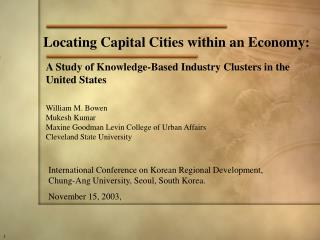 Locating Capital Cities within an Economy: