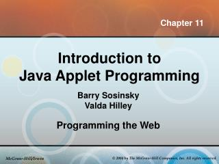 Introduction to  Java Applet Programming