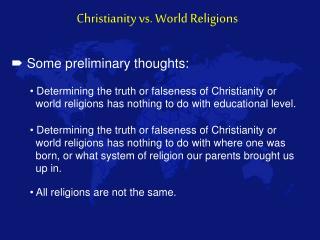 Christianity vs. World Religions