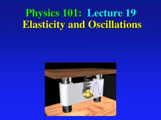 Physics 101:  Lecture 19  Elasticity and Oscillations