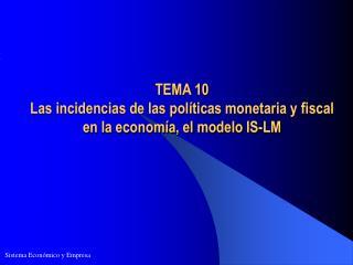 TEMA 10  Las incidencias de las políticas monetaria y fiscal en la economía, el modelo IS-LM