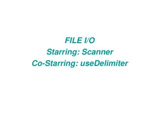 FILE I/O Starring: Scanner Co-Starring: useDelimiter
