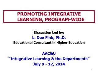 PROMOTING INTEGRATIVE LEARNING, PROGRAM-WIDE
