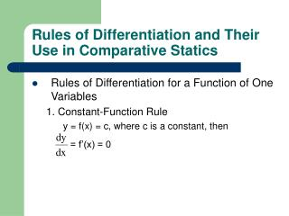 Rules of Differentiation and Their Use in Comparative Statics