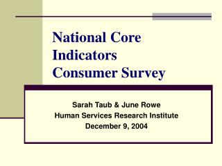 National Core Indicators  Consumer Survey