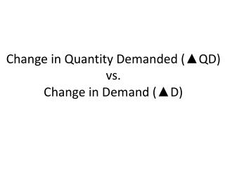 Change in Quantity Demanded (▲QD)  vs.  Change in Demand (▲D)
