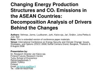 Changing Energy Production Structures and CO2 Emissions in the ASEAN Countries: Decomposition Analysis of Drivers Behind