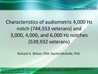 Richard H. Wilson, PhD; Rachel McArdle, PhD