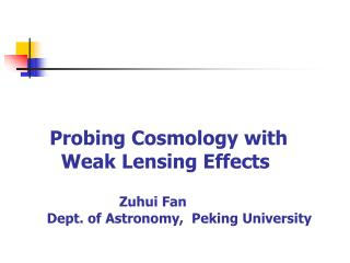 Outline: Weak gravitational lensing effects Cosmological applications  Systematic effects