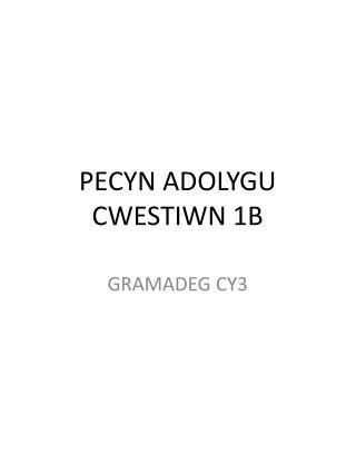 PECYN ADOLYGU CWESTIWN 1B