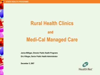 Rural Health Clinics   Medi-Cal Managed Care