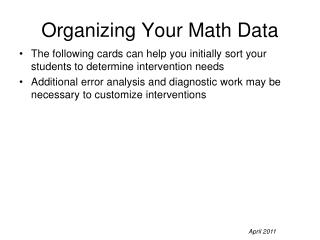 Organizing Your Math Data