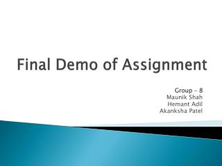 Final Demo of Assignment