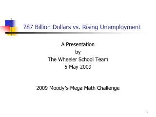 787 Billion Dollars vs. Rising Unemployment