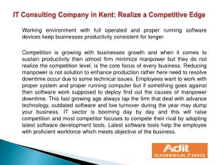IT Consulting Company in Kent: Realize a Competitive Edge
