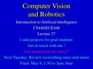 Computer Vision and Robotics