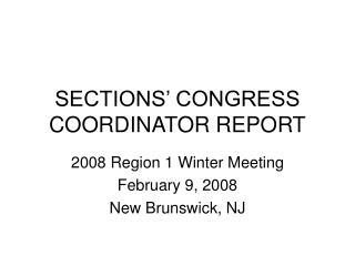 SECTIONS' CONGRESS COORDINATOR REPORT