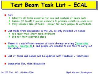 Test Beam Task List - ECAL