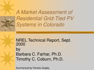 A Market Assessment of  Residential Grid-Tied PV Systems in Colorado