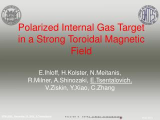 Polarized Internal Gas Target in a Strong Toroidal Magnetic Field