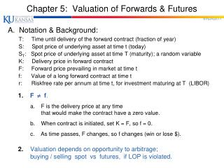 Chapter 5:  Valuation of Forwards & Futures