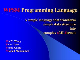 WPSM  Programming Language