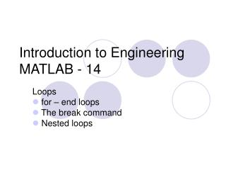 Introduction to Engineering MATLAB - 14