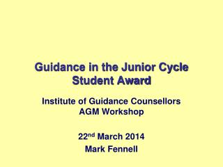 Guidance in the Junior Cycle Student Award